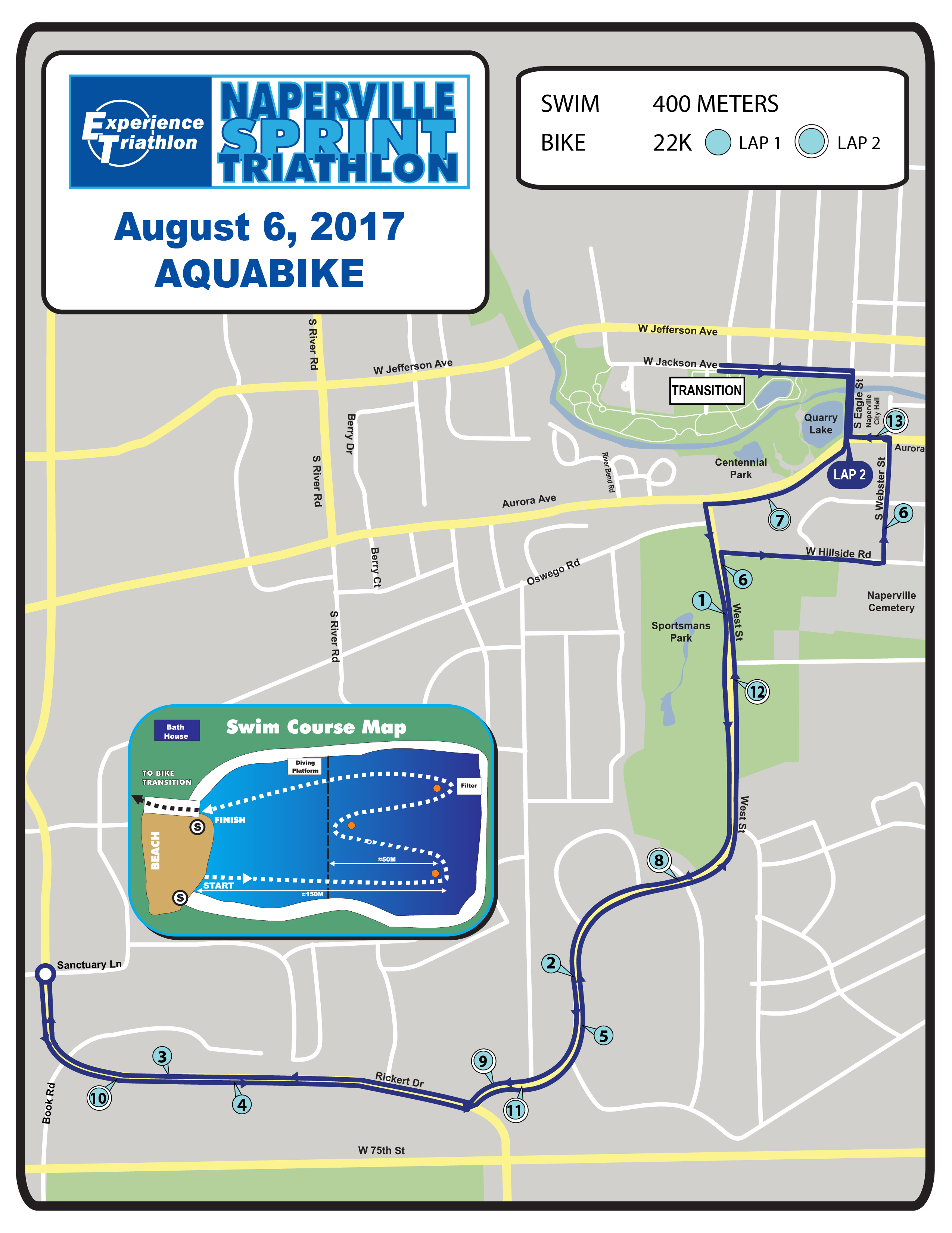 Naperville Sprint Triathon - Aquabike Race Course