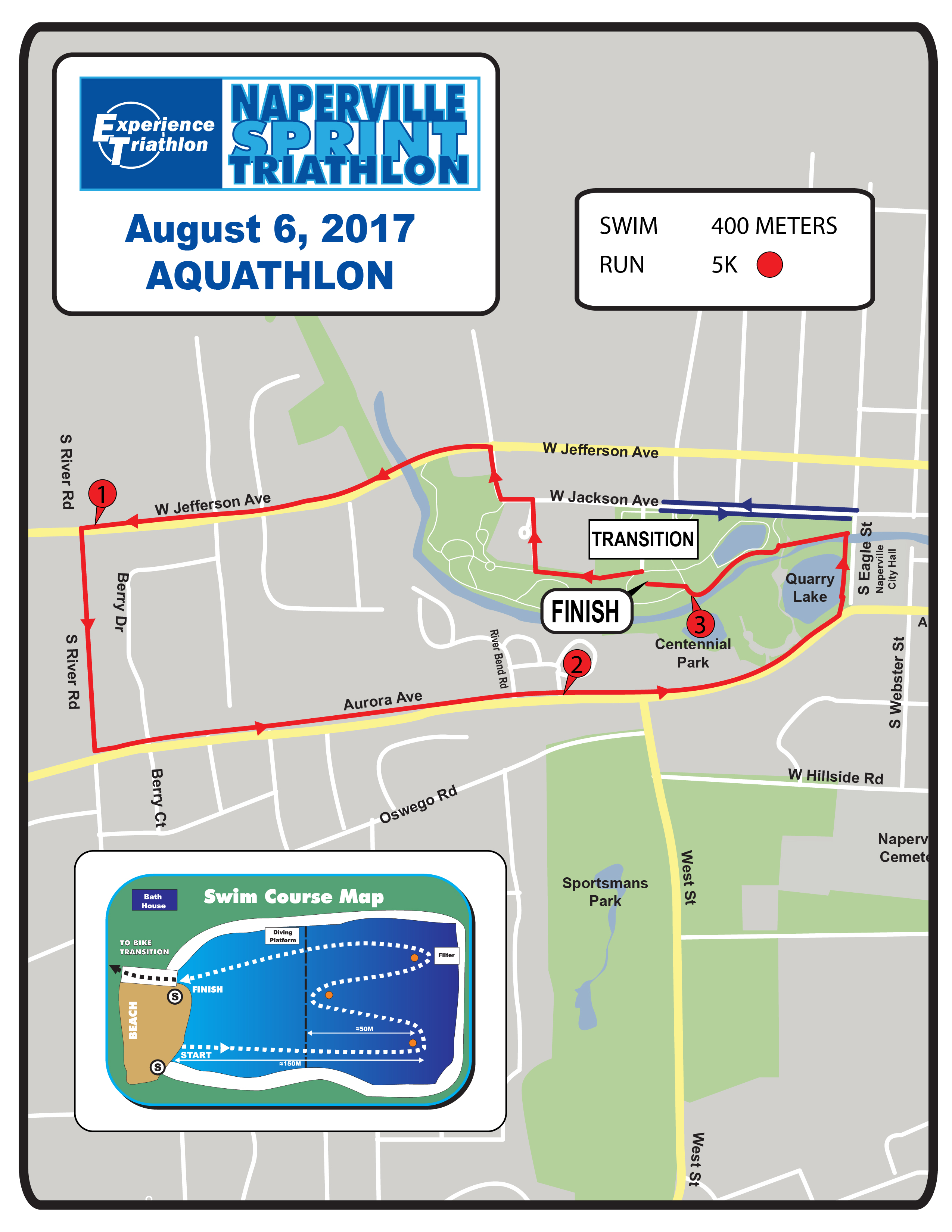 Naperville Sprint Triathon - Aquathlon Race Course