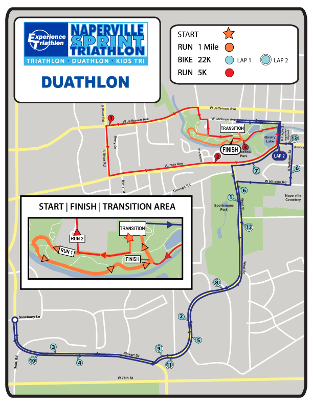 Naperville Duathlon Course Map