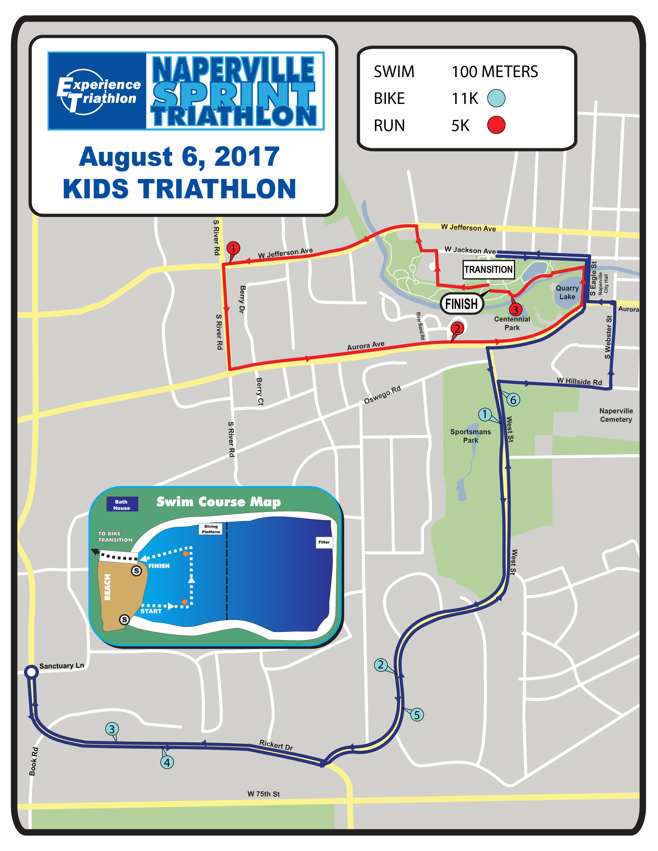 Naperville Sprint Triathon - Kids Triathlon Race Course