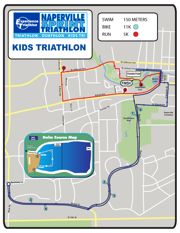 Naperville Kids Triathlon Course Map