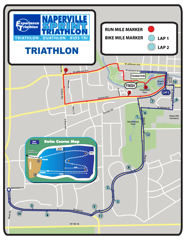 Naperville Sprint Triathlon Course Map